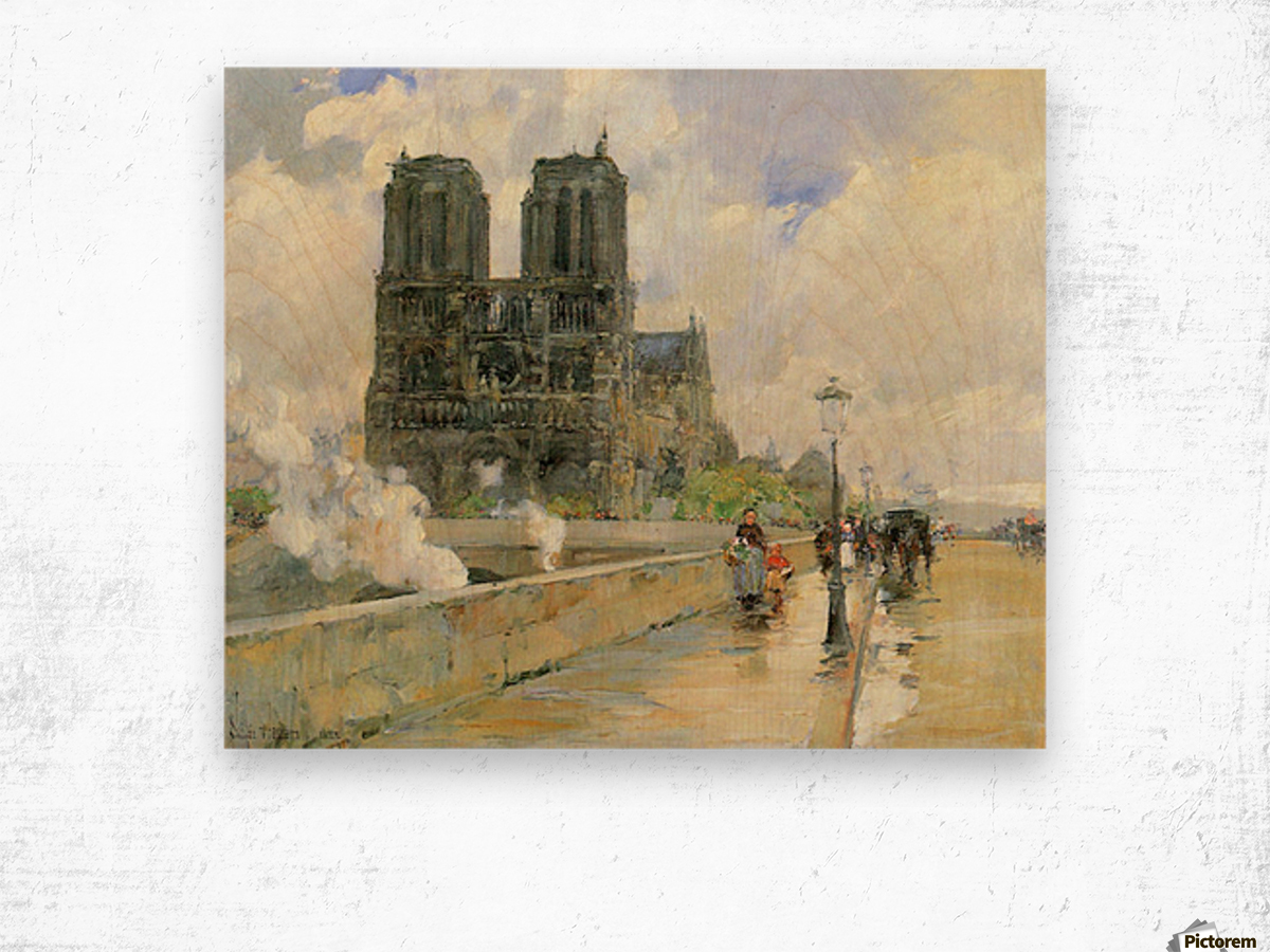 Cathedral of Notre Dame, 1888 by Hassam Wood print