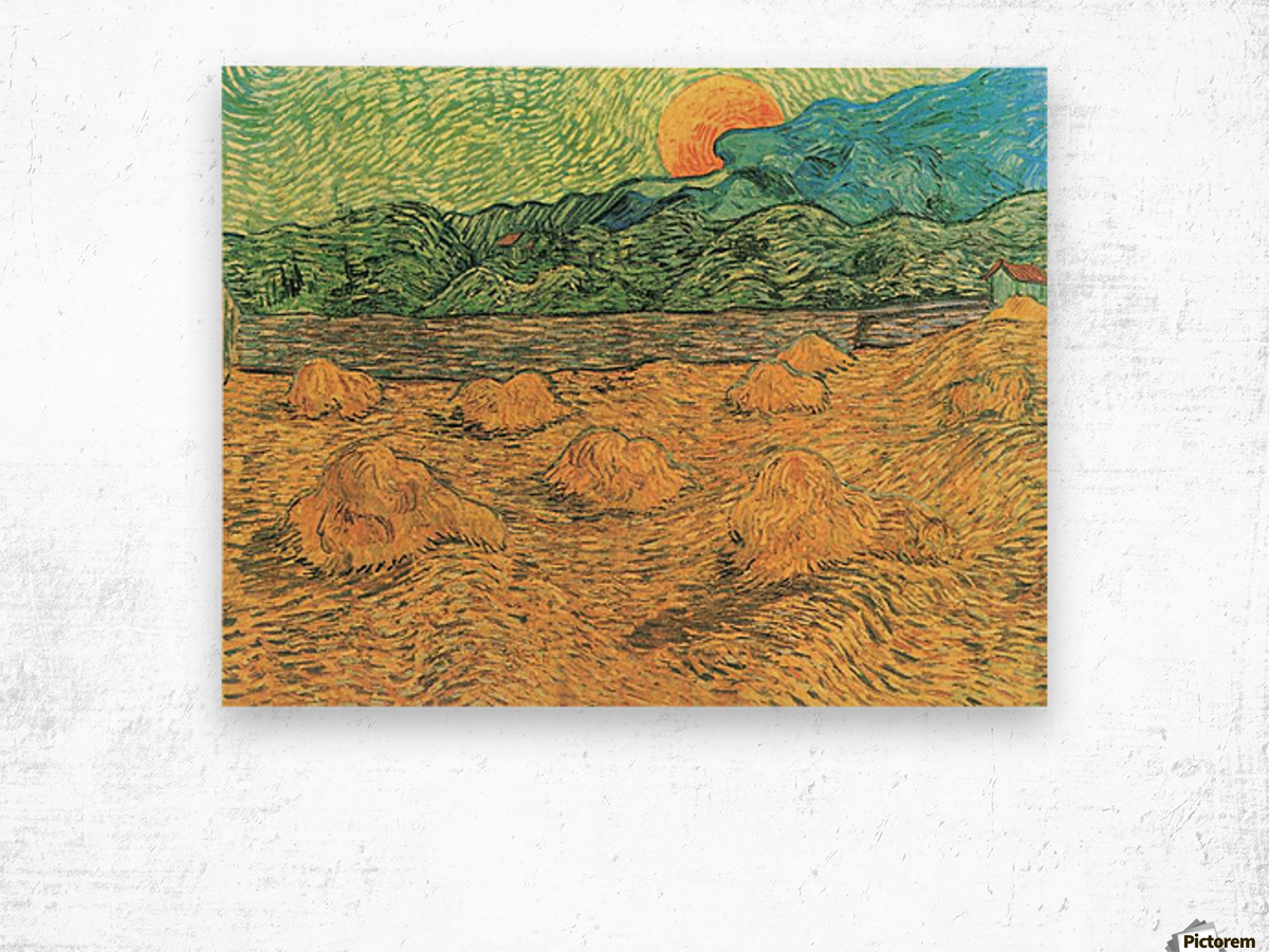 Evening landscape at moonrise by Van Gogh Wood print