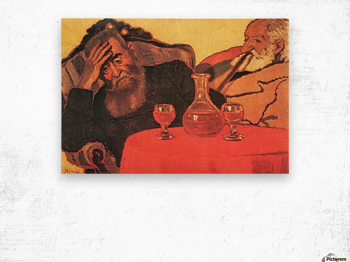 Father and uncle with the red wine  by Joseph Rippl-Ronai Wood print