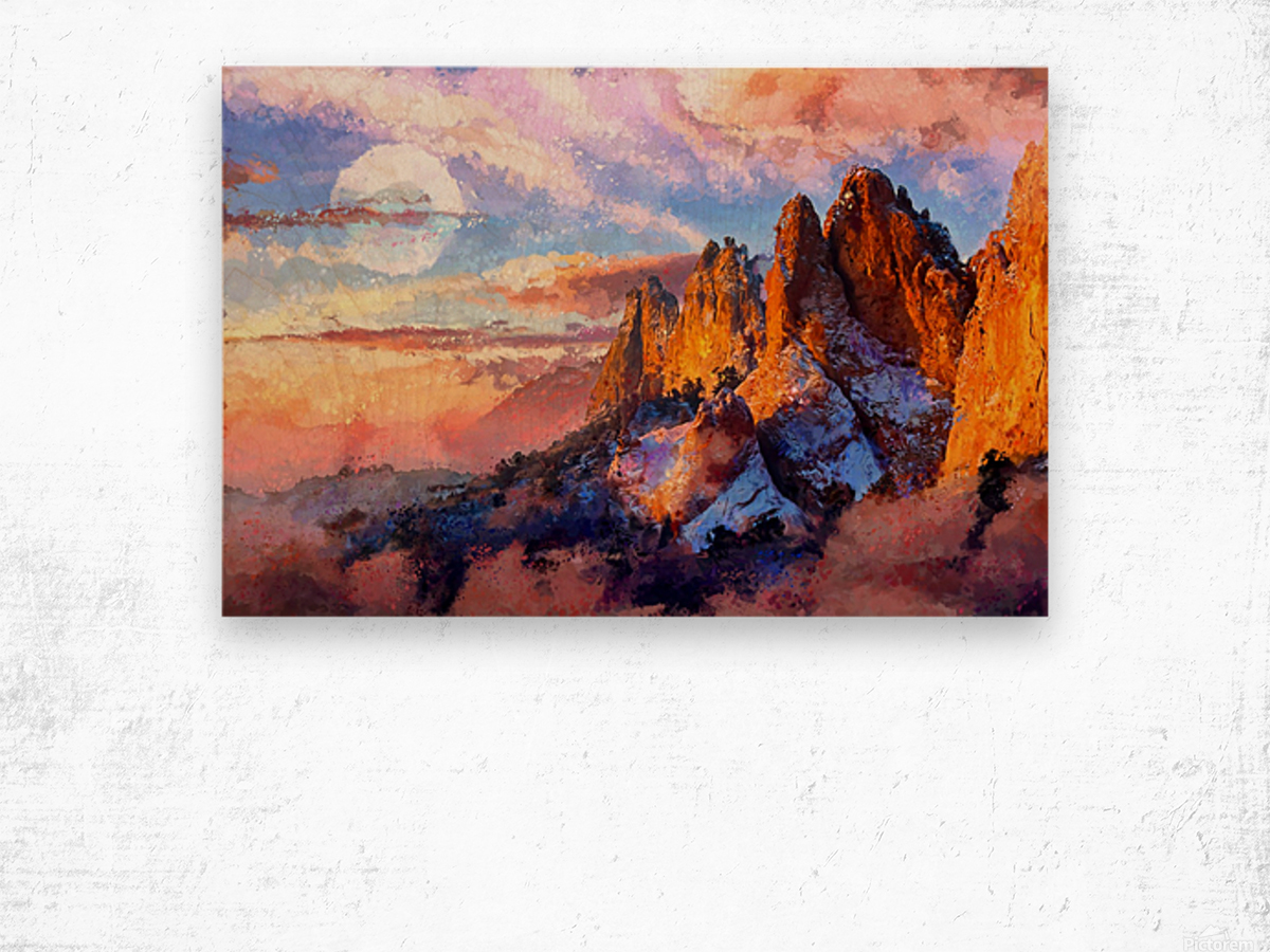 Colorado Mountains - Digital Painting III Wood print