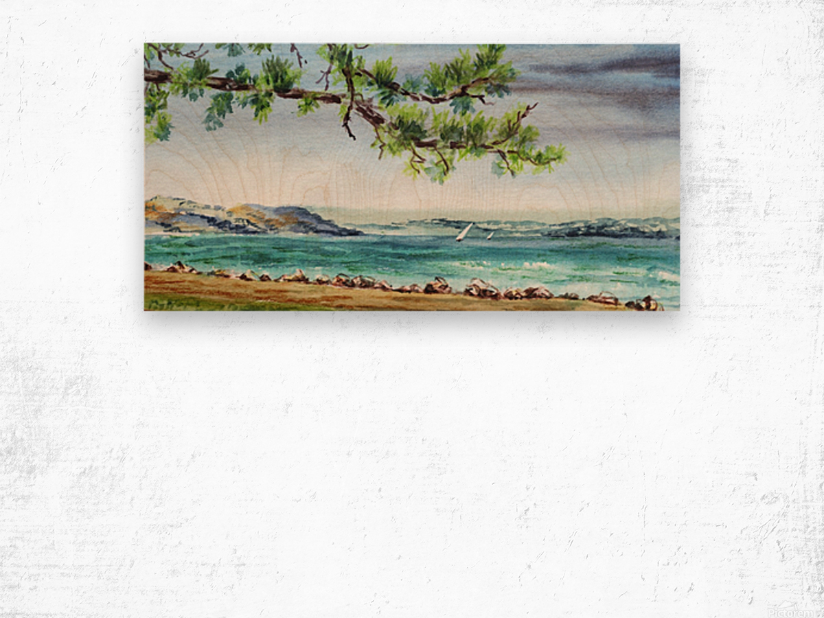 Sea Shore Beach House View Watercolor Wood print