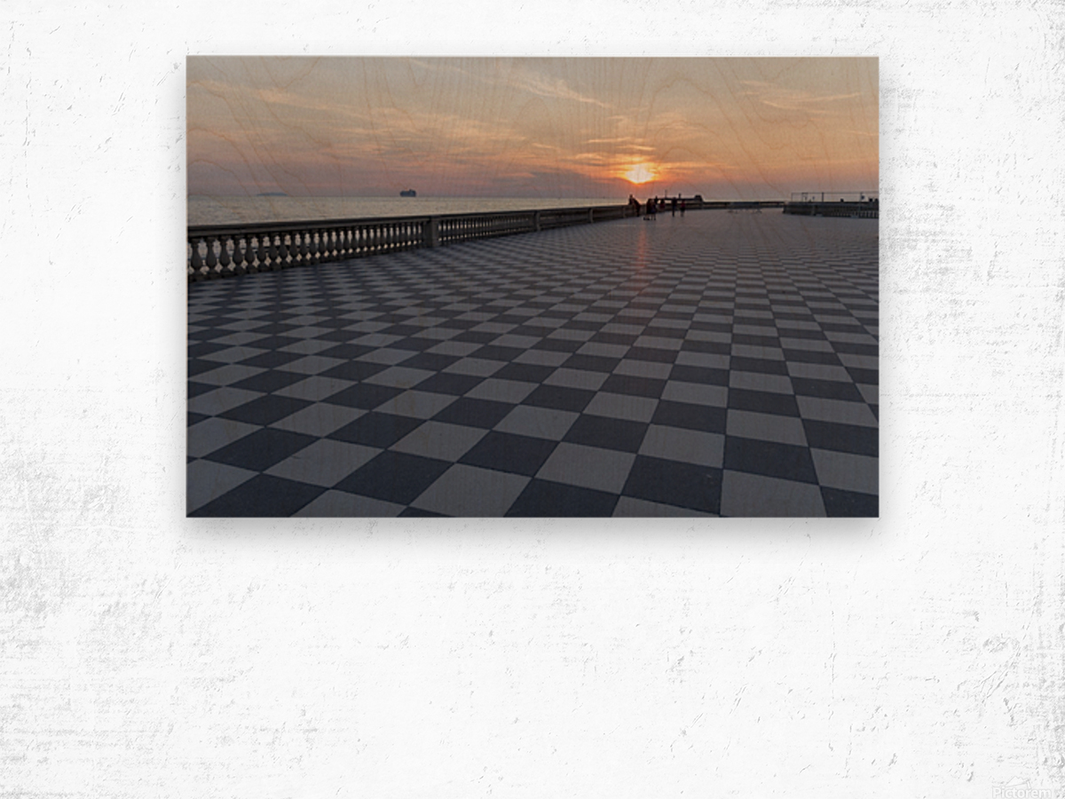 Sunset in Livorno - Piazza Mascagni Wood print