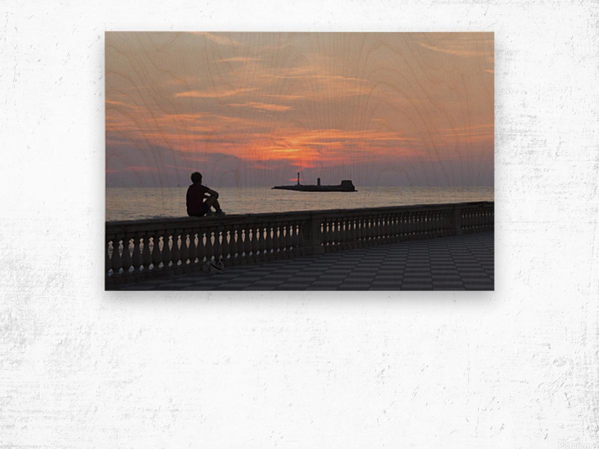 Sunset in Livorno - Piazza Mascagni Wood print