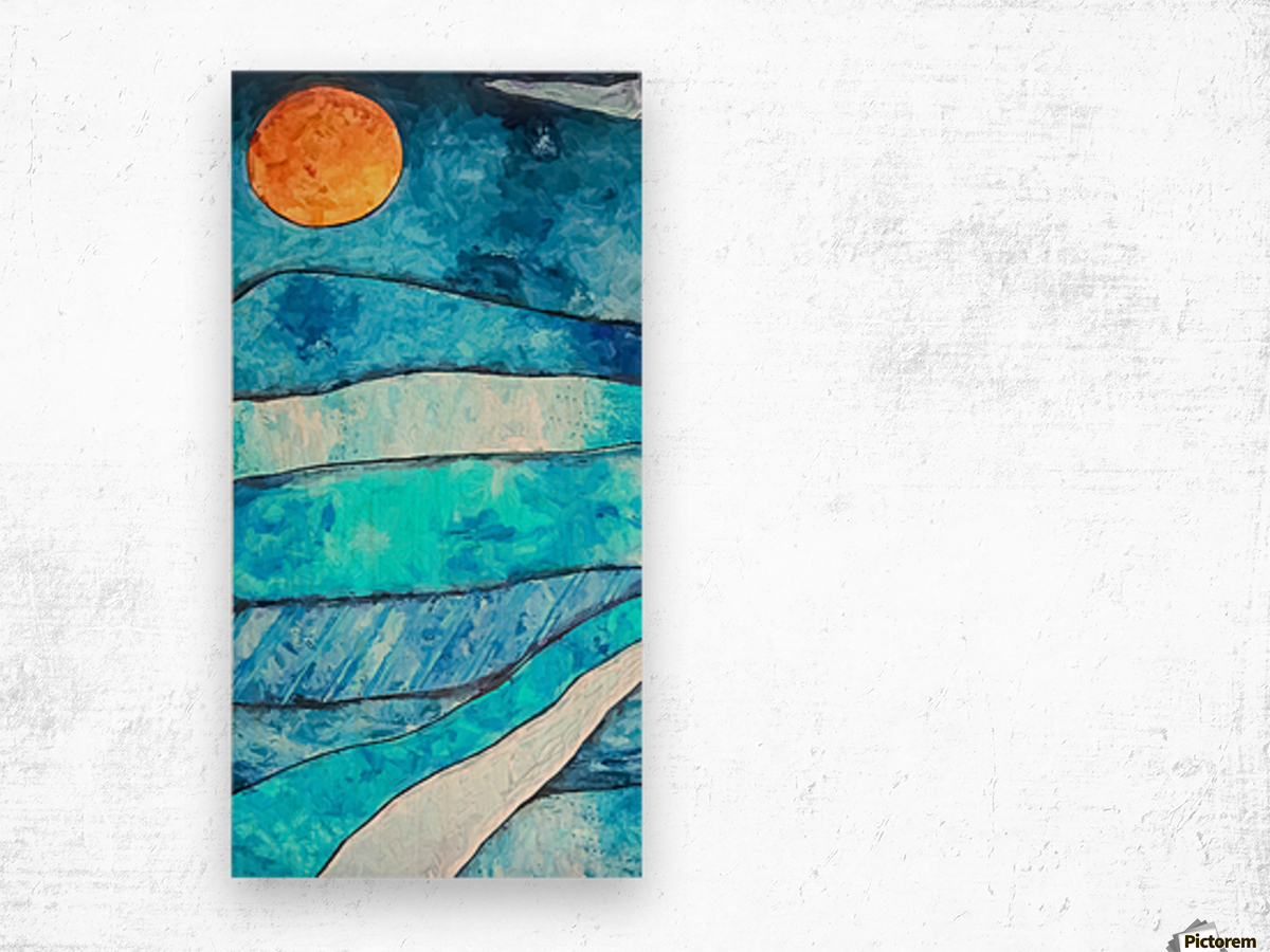 Blue Sunrise Wood print