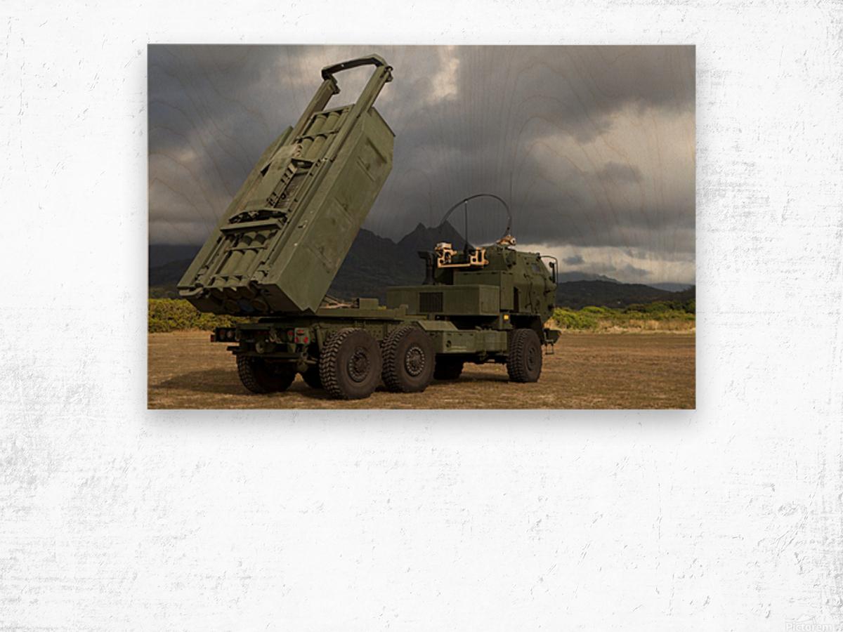 A M142 High Mobility Artillery Rocket System. Wood print
