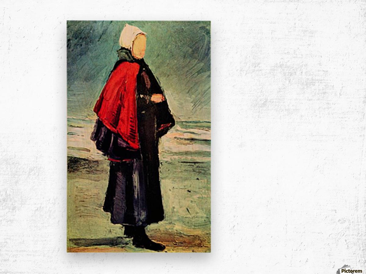 Fisherwoman on the shore by Van Gogh Wood print