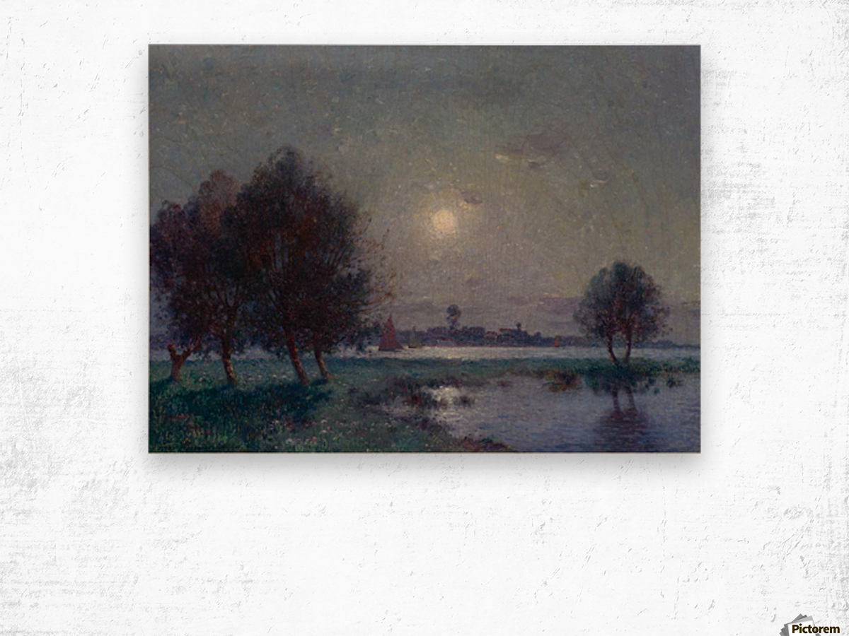 The Bank of Loire under Clear Moon Wood print