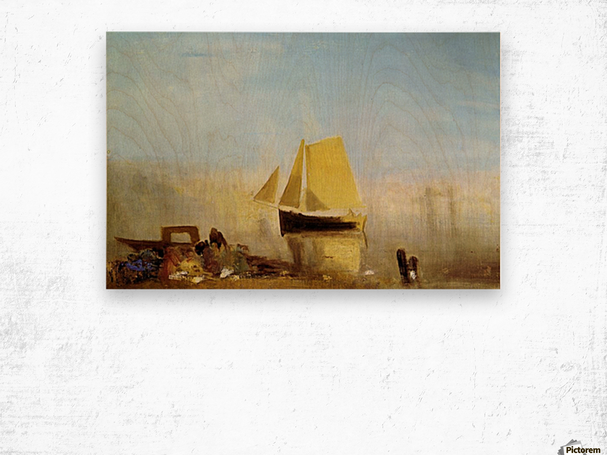 Fishing boat in a mist by Joseph Mallord Turner Wood print