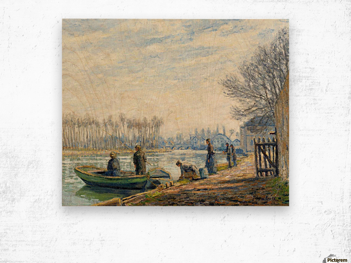 Fishermen at Moret-sur-Loing Wood print
