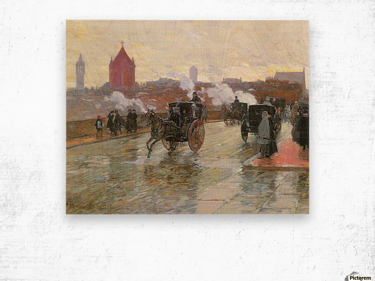 Clearing Sunset (Berkeley Street and Columbus Avenue) by Hassam Wood print