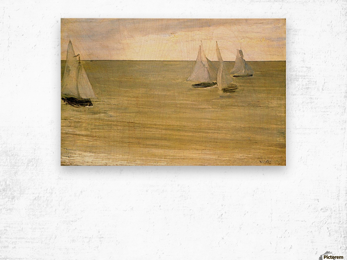 Grey and green the silver sea by Whistler Wood print