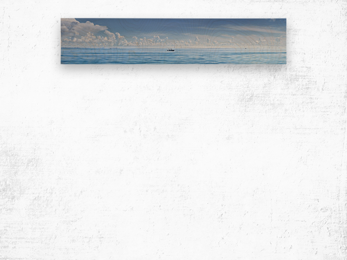 Fishing boat in front of Sunshine Skyway Wood print