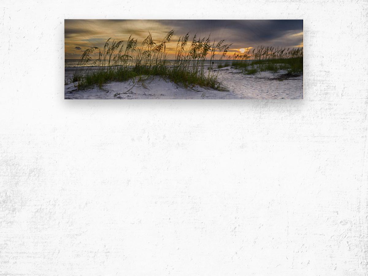 Sunset over Holmes Beach Wood print