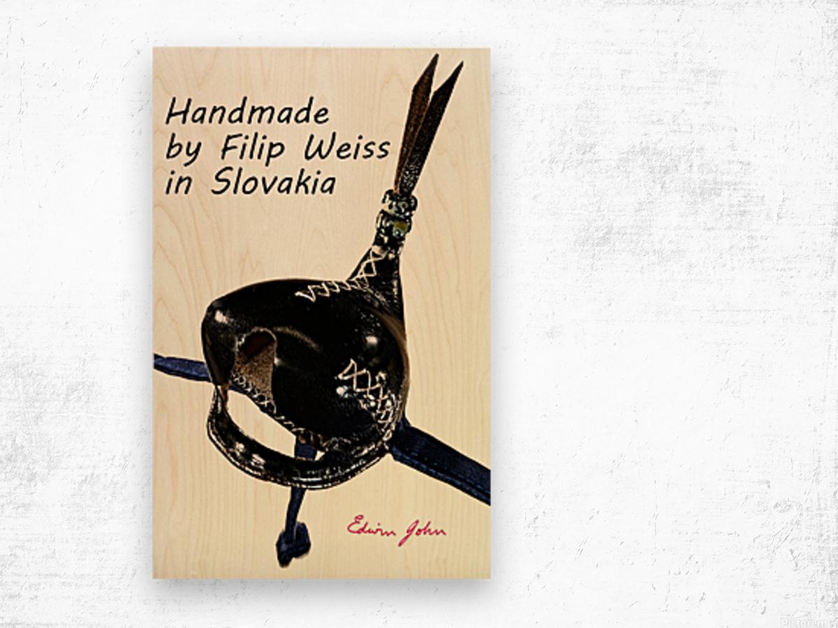 Black Leather Falcon hood Handmade in Slovakia by Filip Wood print