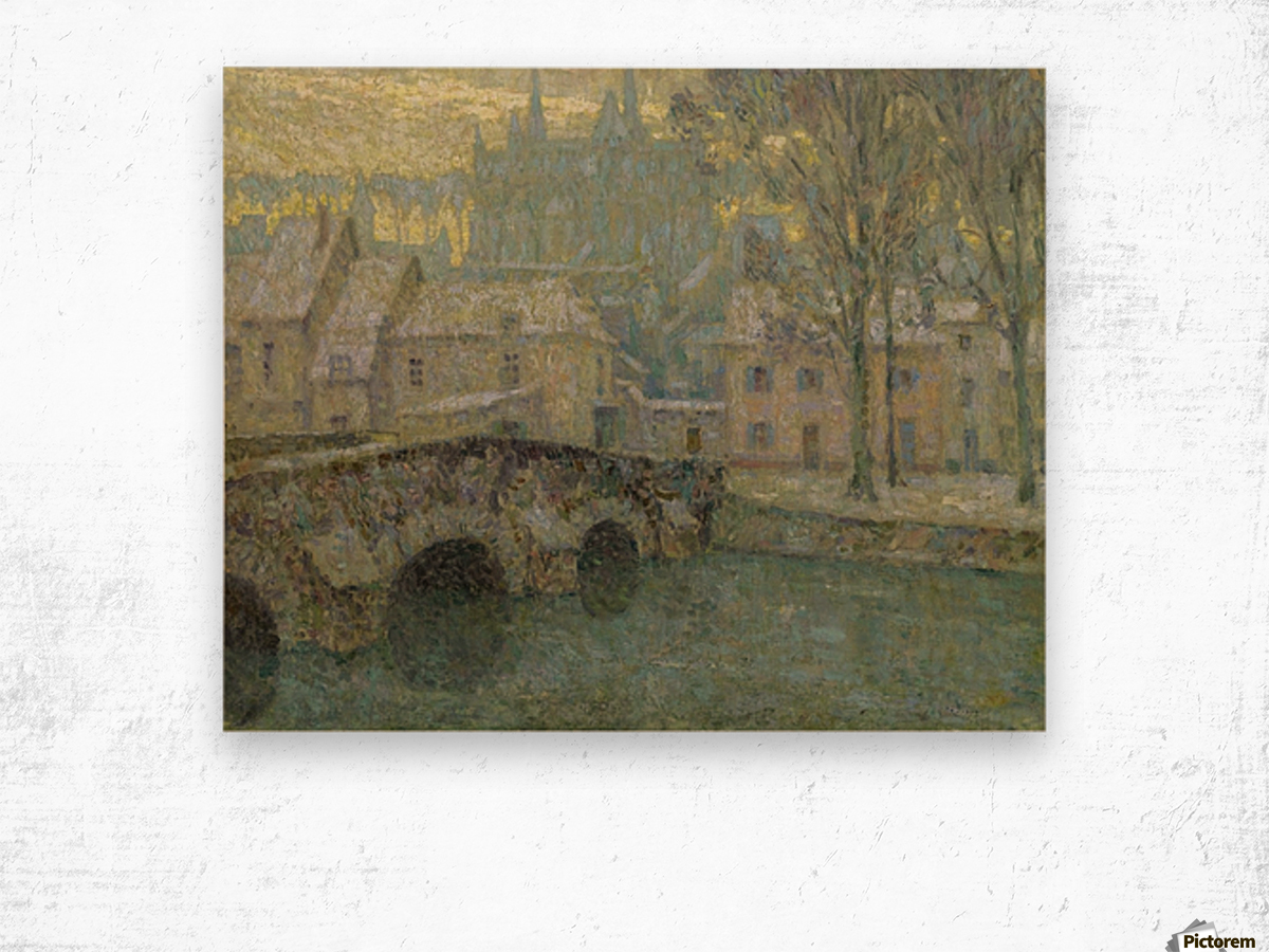 Chartres in Snow Wood print