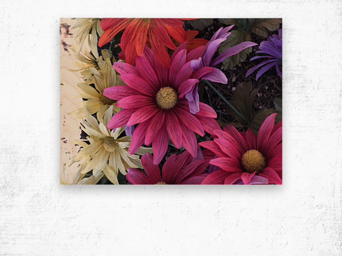 Rainbow of flowers Wood print