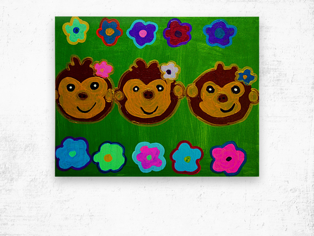 Chain of Monkey.Ali H Wood print