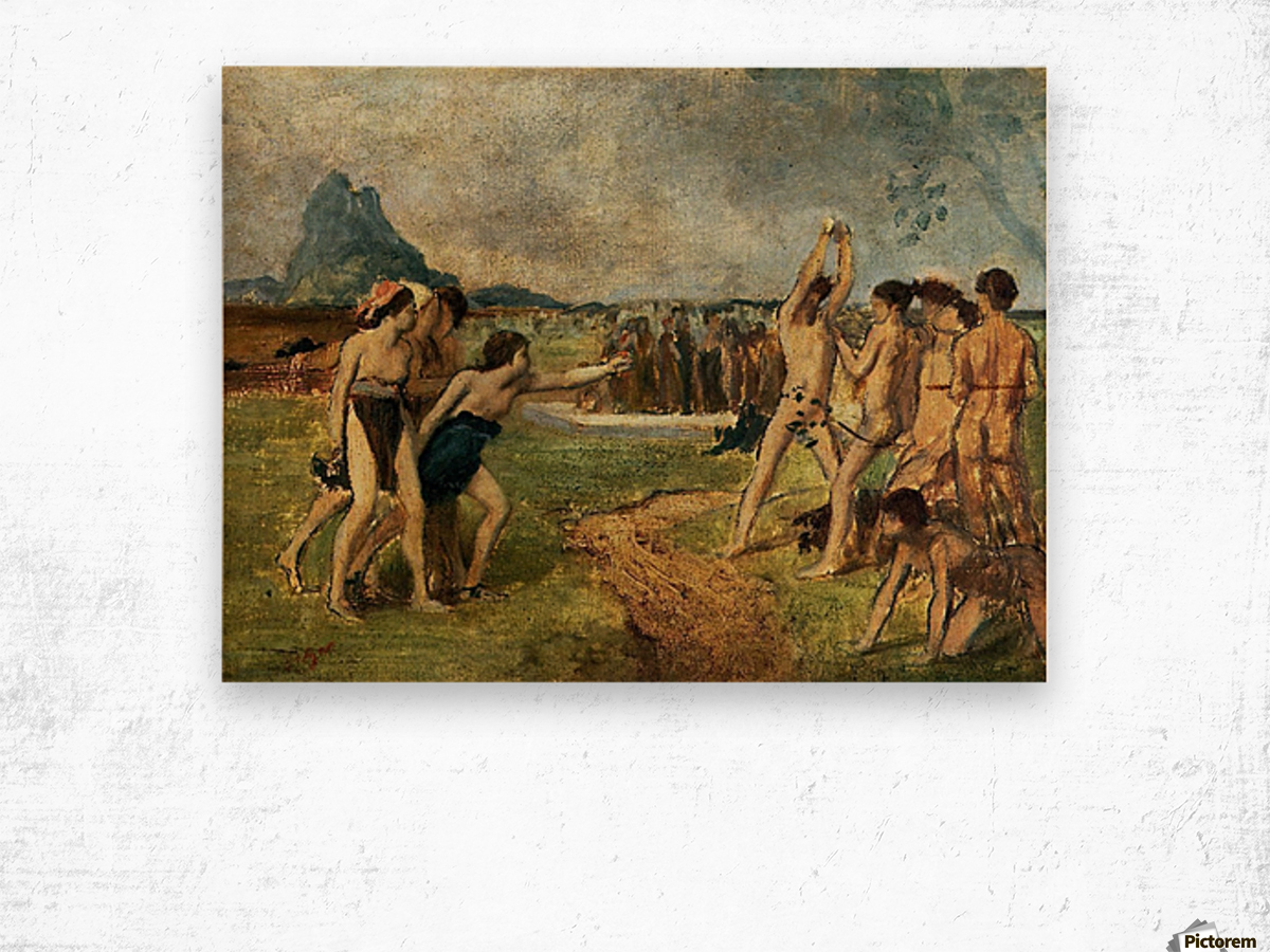 Young Spartans Exercising Wood print