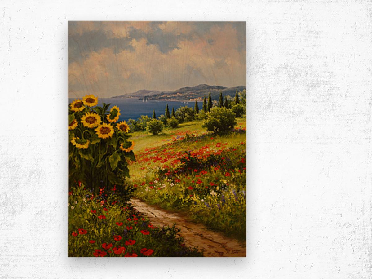 The Sunflower Grove Wood print