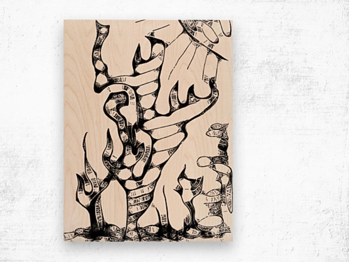 Cactus Sunrise Cartoon Sketch Wood print