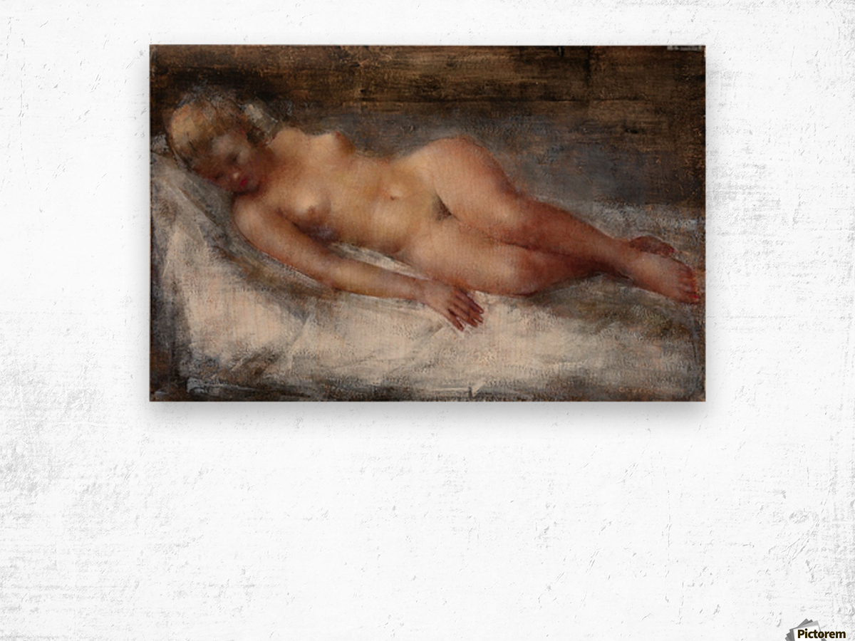 Model with Flaxen Hair Wood print