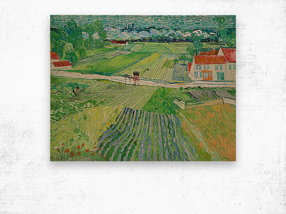 Landscape at Auvers in the Rain -2 by Van Gogh Wood print