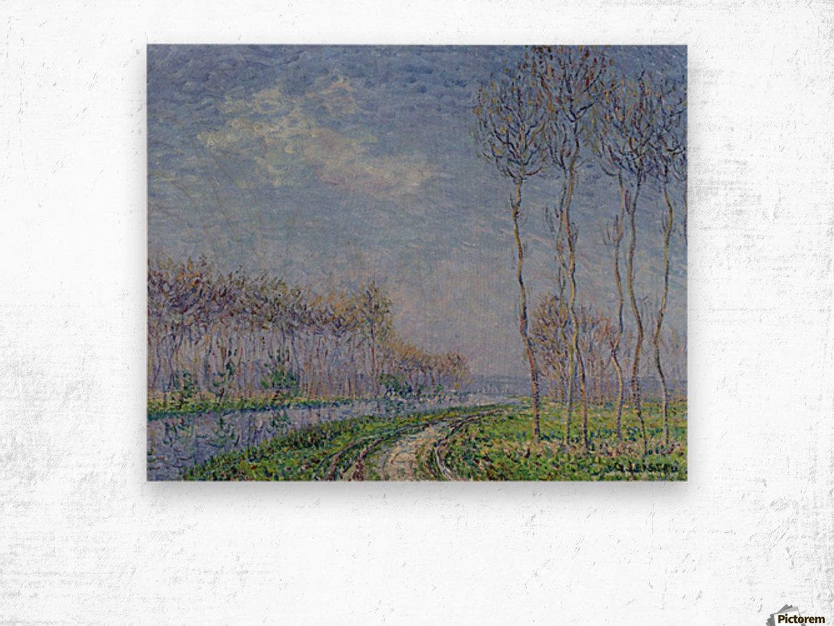 Trees on the Bank of the River Wood print