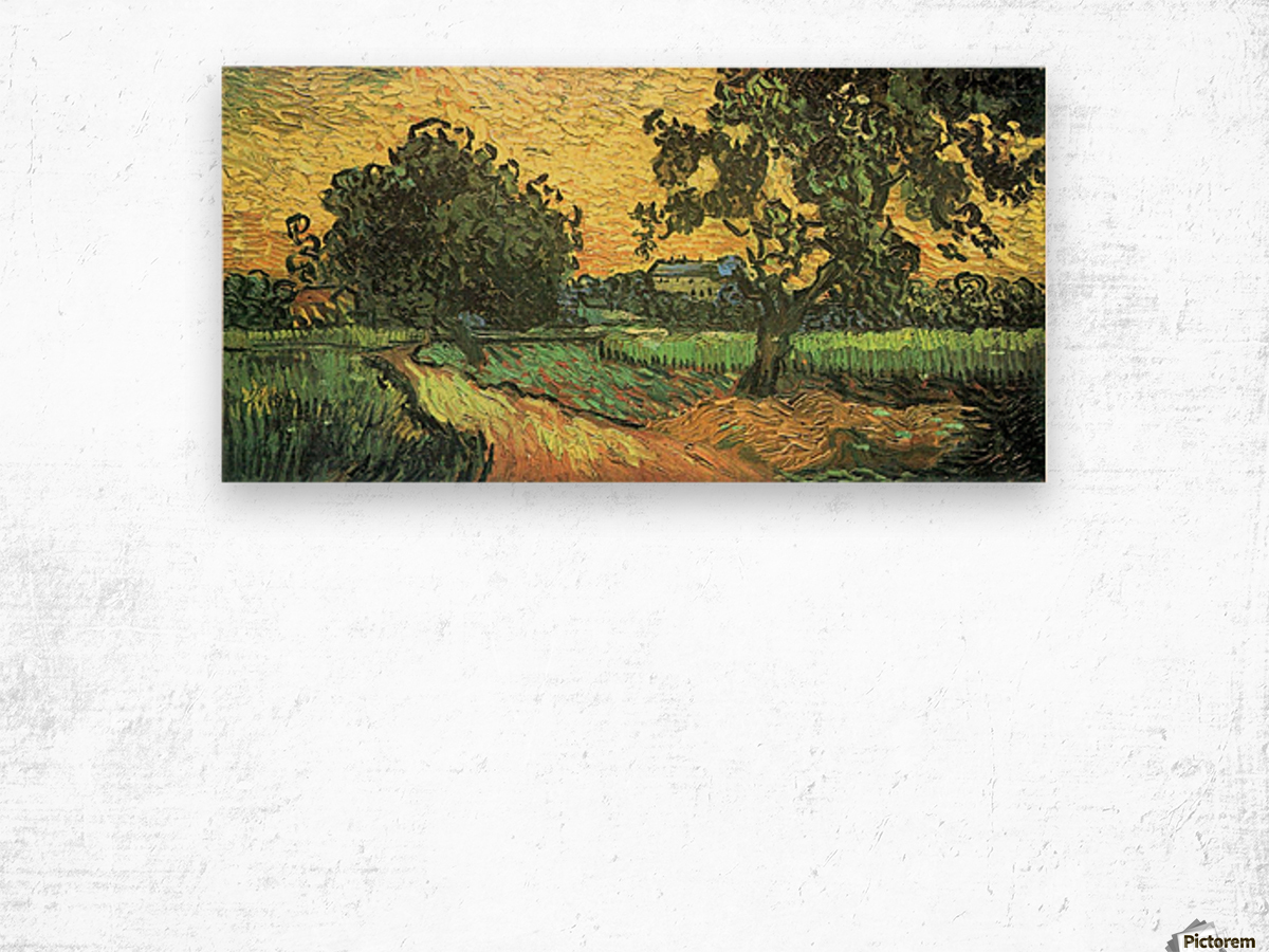 Landscape with Castle Auvers at Sunset by Van Gogh Wood print