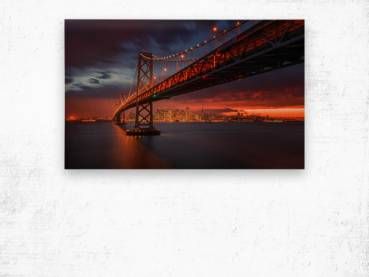 Fire over San Francisco Wood print