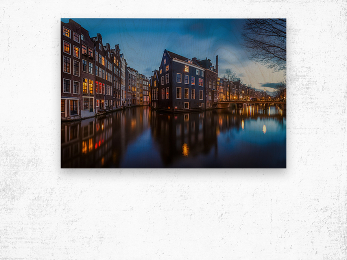 Blue Amsterdam Wood print