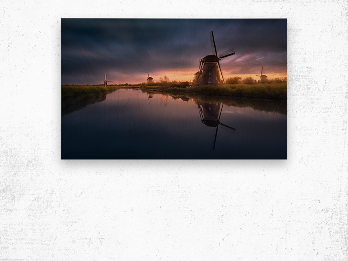 Kinderdijk Windmills Wood print