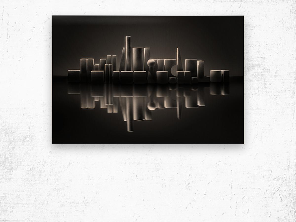 Blockville on the lake Wood print