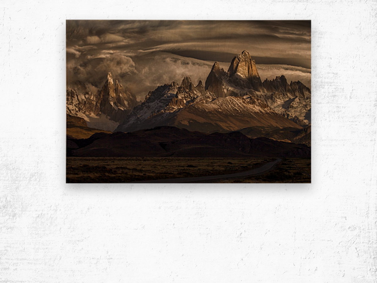 Striped sky over the Patagonia spikes Wood print