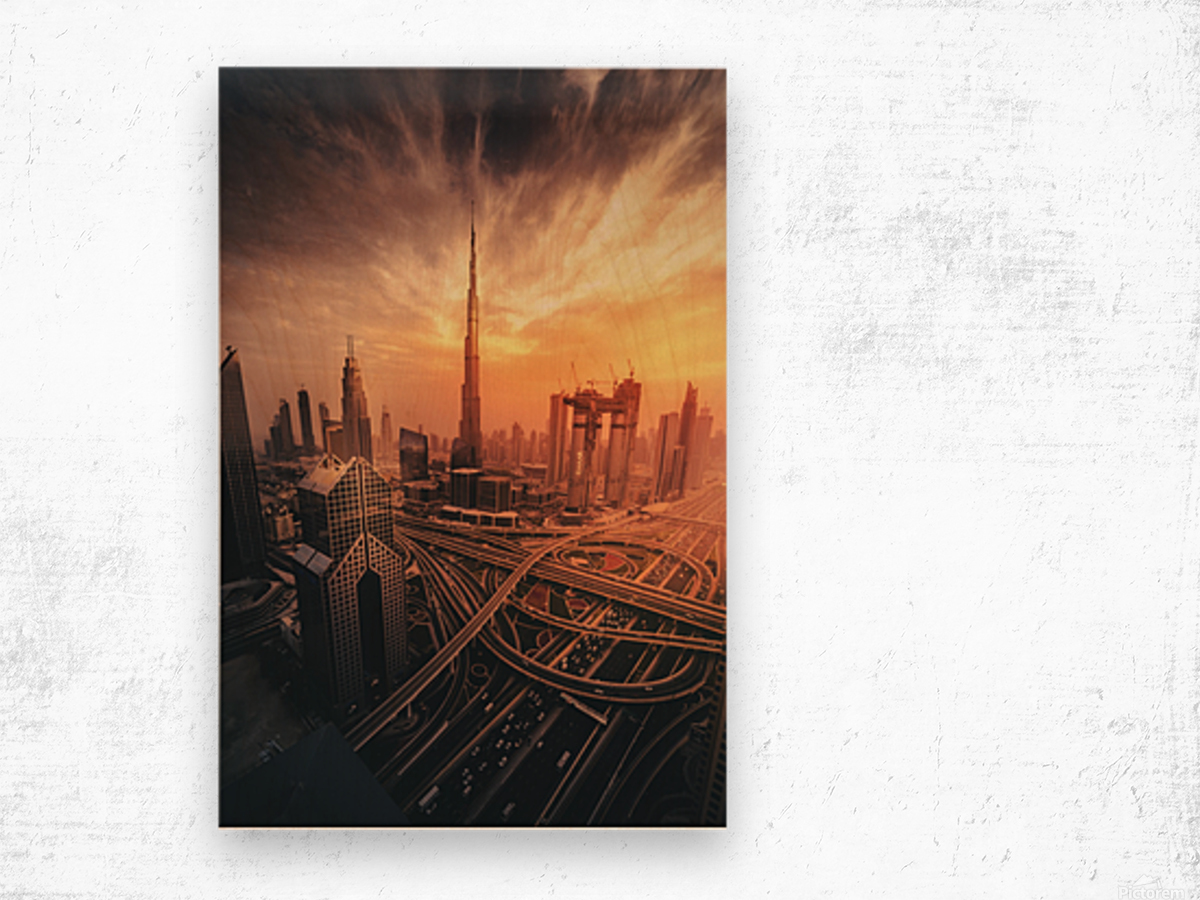 Dubai's Fiery sunset Wood print
