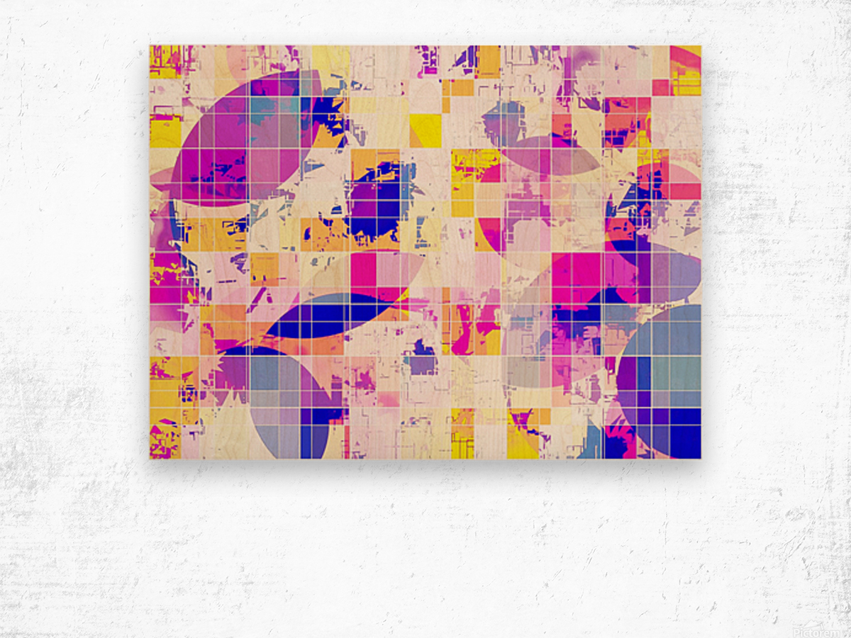 geometric square and circle pattern abstract in pink blue yellow Wood print