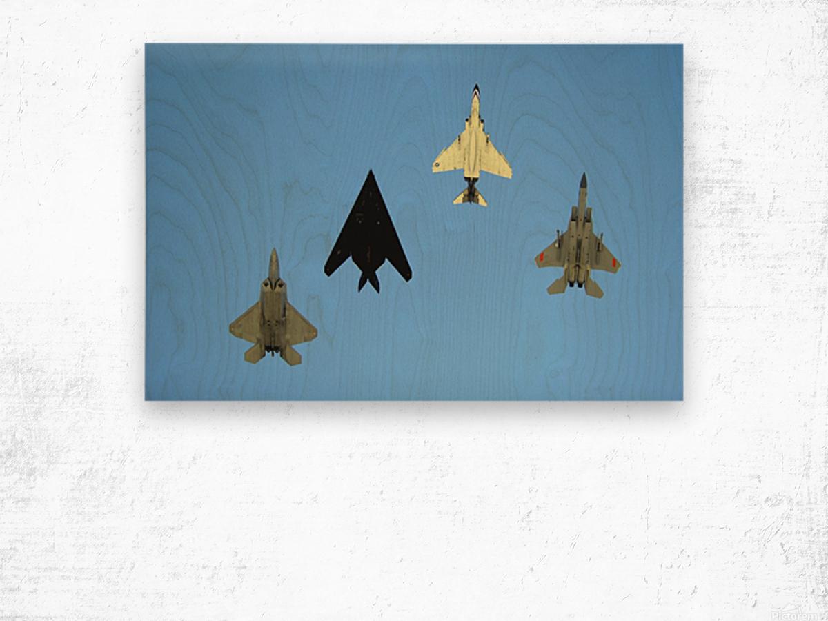 An F-22 Raptor an F-117 Nighthawk an F-4 Phantom and an F-15 Eagle in flight. Wood print