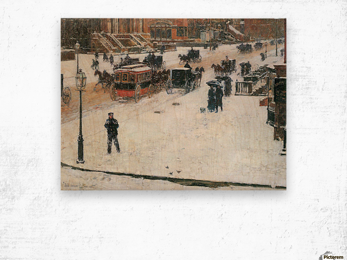 Fifth Avenue in Winter by Hassam Wood print