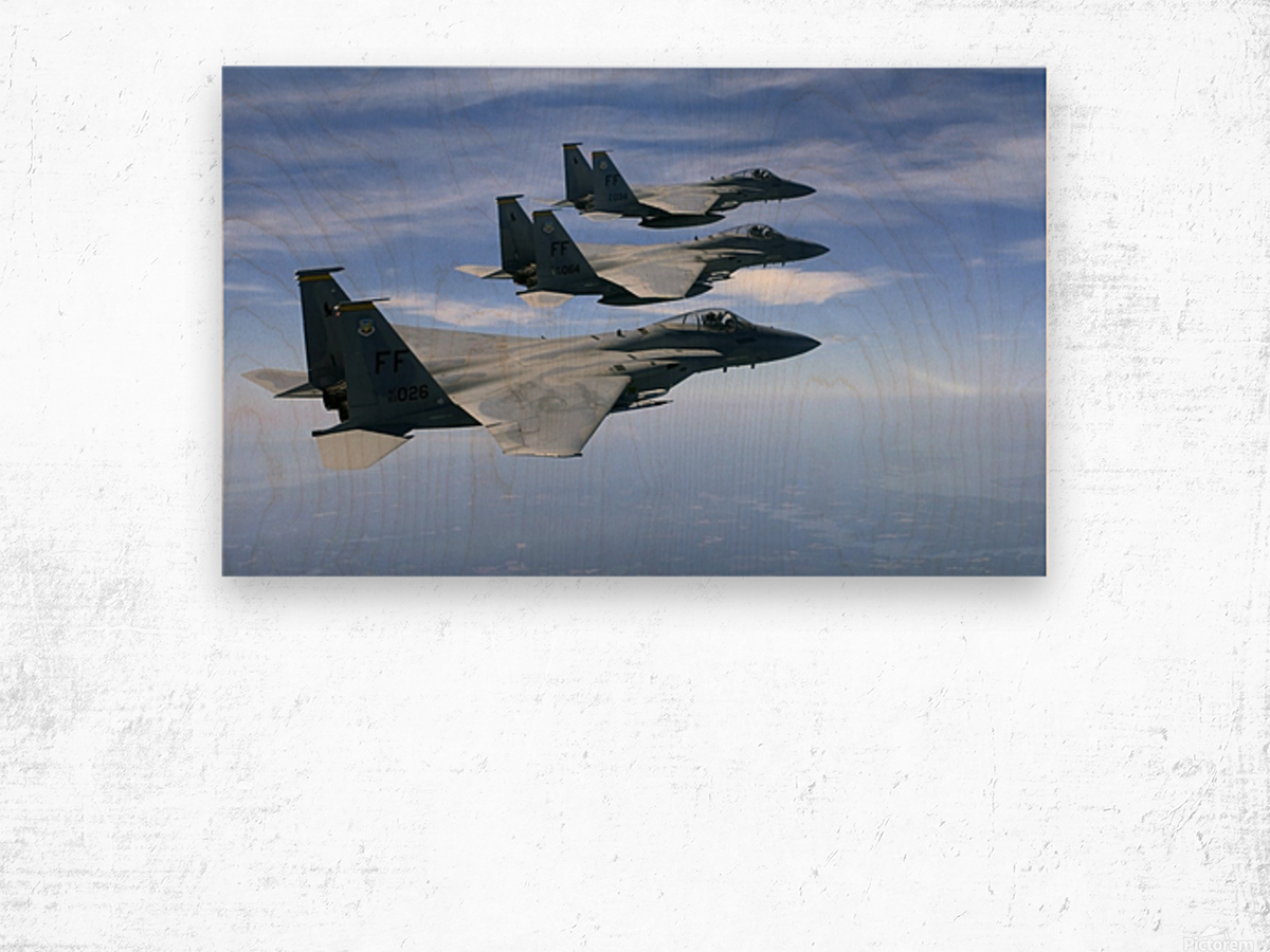 The F-15 Eagles final training mission over the the Atlantic Ocean. Wood print