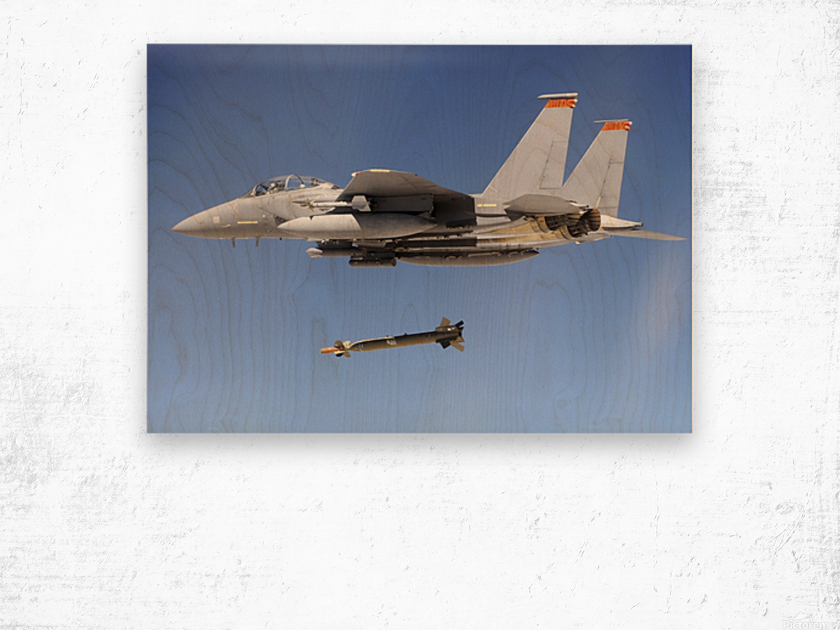 An F-15E Strike Eagle drops a GBU-28 bomb during a Combat Hammer mission. Wood print