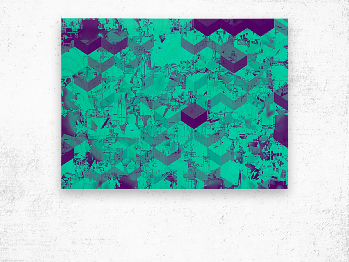 geometric square pattern abstract in blue Wood print