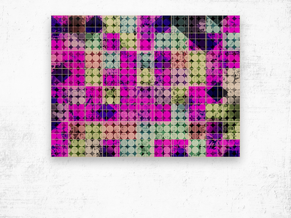 geometric square and circle pattern abstract in pink blue Wood print
