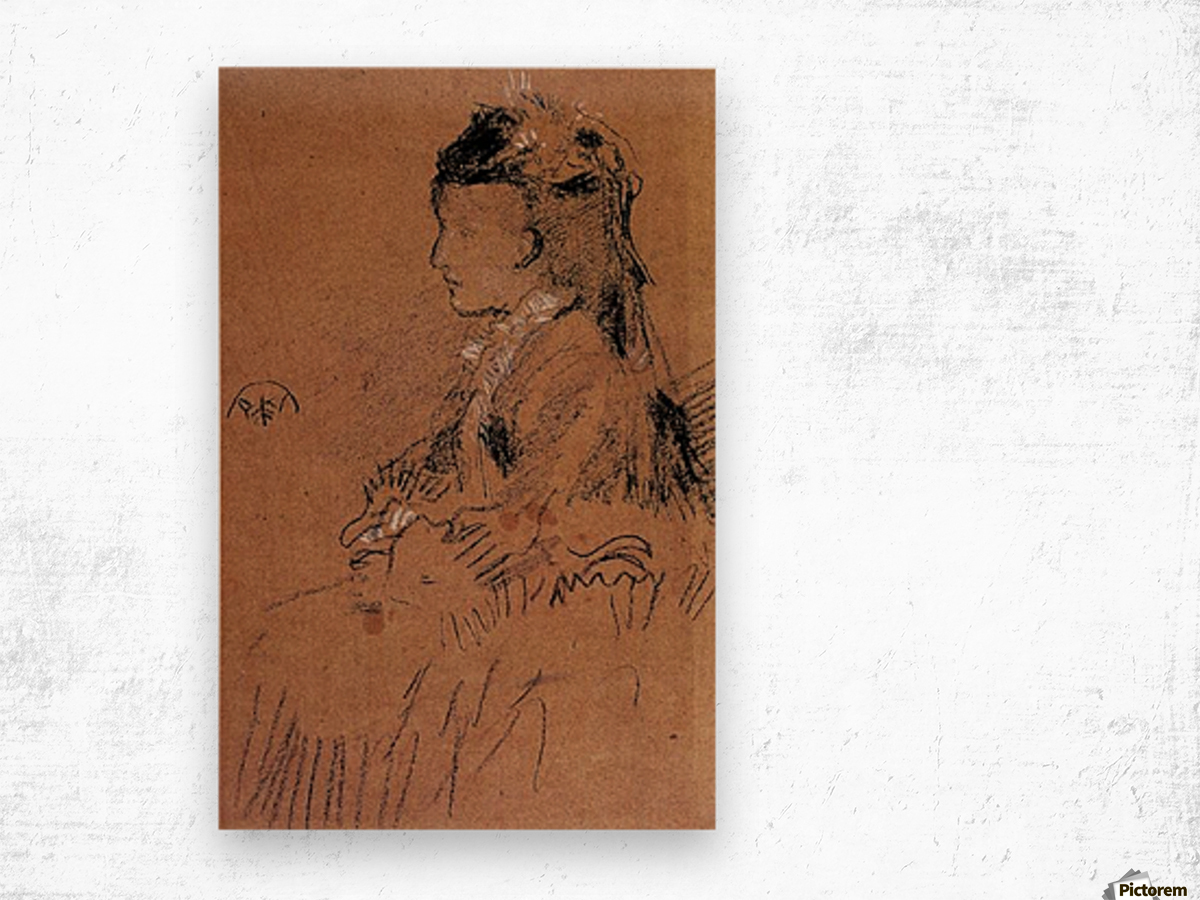 Mrs Leyland seated by Whistler Wood print