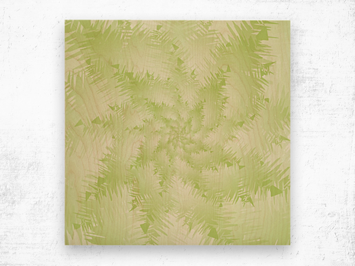Green Snowflake Wood print