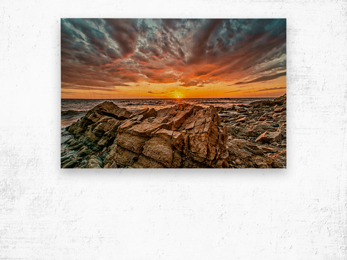 Rocks and Sunset Wood print