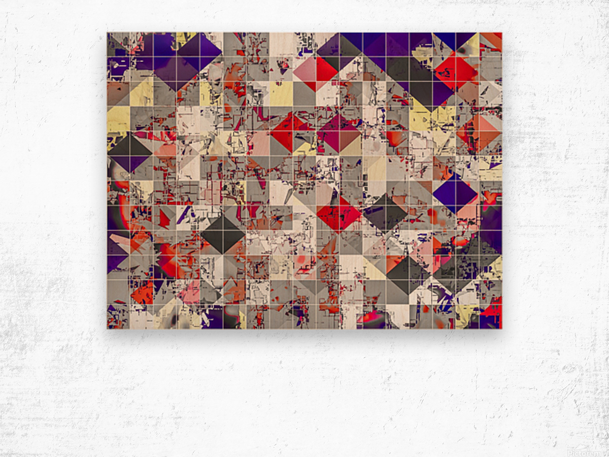 geometric square pixel pattern abstract in purple orange red Wood print