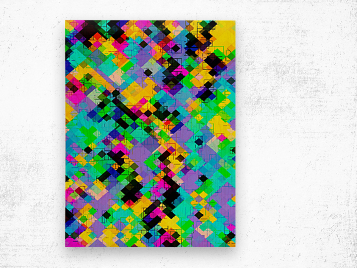 geometric square pixel pattern abstract in blue green yellow pink Wood print