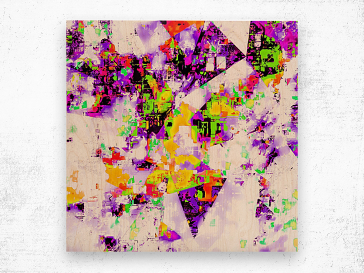 geometric triangle pattern abstract in purple yellow green Wood print