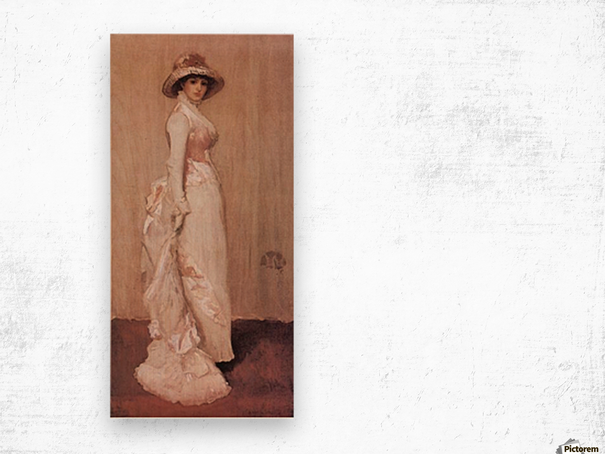 Nocturne in rose and grey by Whistler Wood print