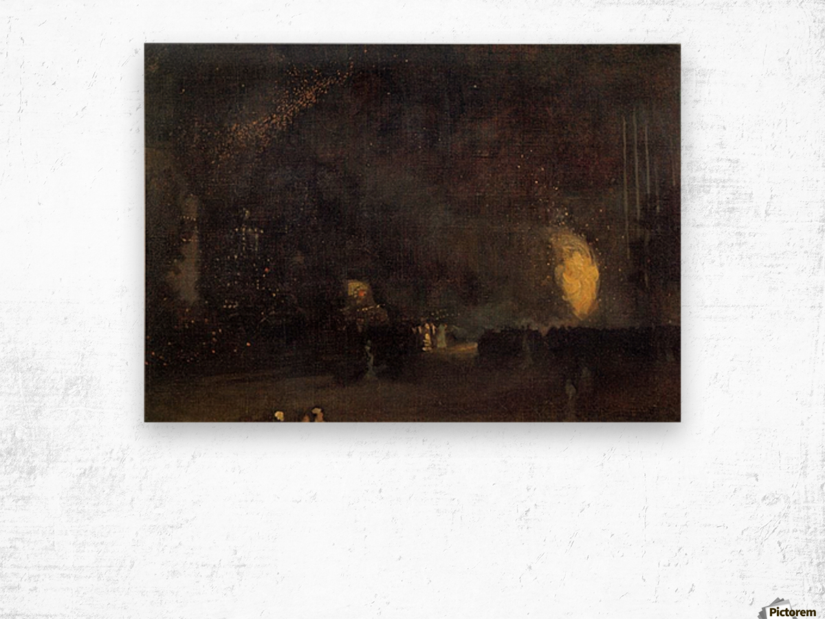Nocturne, Black and Gold, The Fire Wheel by Whistler Wood print