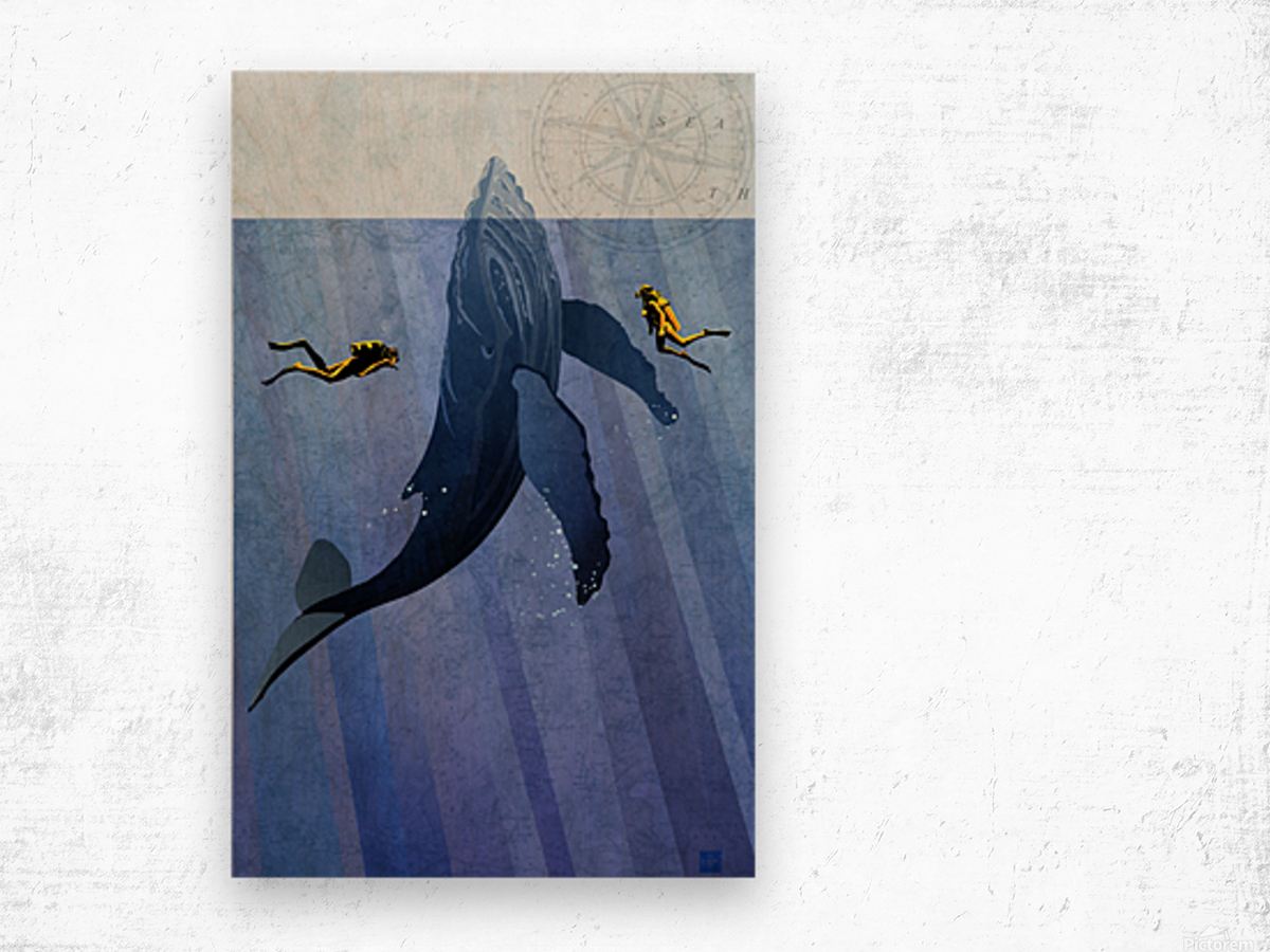 Scuba Dive with Whale Wood print